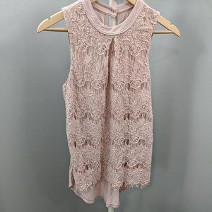 Maurices Blush Pink Lace Front Sleeveless Top, S